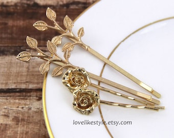 Gold Leaf and Rose Bobby Pin and Simple Rhinestone Bobby Pin, Set of 4 Gold Bobby Pin