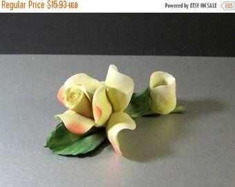 ON SALE Vintage Capodimonte Rose Candleholder