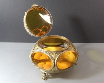 6 Panel Beveled Amber Glass Ormolu Jewelry Casket Wedding Ring Bearer Vanity Dresser Trinket Box