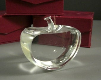 Blank Crystal Apple Optical Paperweight / DIY Crystal Optic Glass Awards