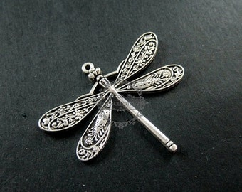 50%OFF 6pcs 40x50mm vintage style antiqued silver big dragonfly DIY pendant charm supplies 1830048