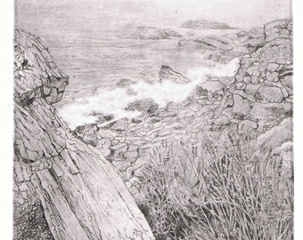 Coast of Maine Solarplate Etching