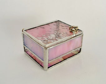 Pink Glass Box, Glass Display Box, Jewelry Box, Valentines Day Gift For Her, Bridesmaid Gift, Wedding Display Box.
