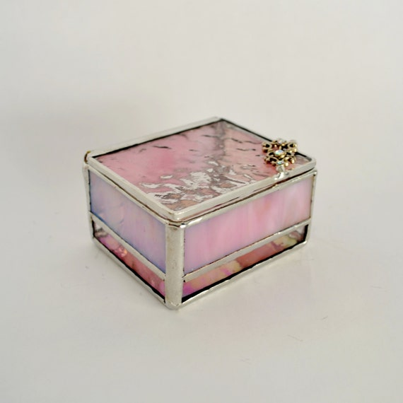 Glass Wedding Gift Box : Pink Glass Box, Glass Display Box, Jewelry Box, Valentines Day Gift ...