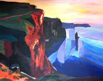 Cliffs of Moher in County Clare Ireland at Sunset  Aillte an Mhothair - Fine Art Print Giclee / Original Painting Available