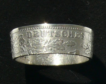Silver Coin Ring 1876 Germany 1 Mark, Ring Size 8 and Double Sided.