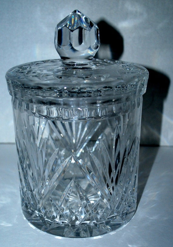 cut glass jar with lid