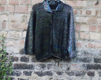 1950s/ 60s iridescent sequin knitted cardigan jacket