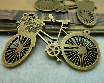 4pcs 42*58mm antique bronze bicycle bike charms pendant C5773