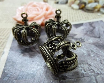 10pcs 18×22×24mm antique bronze crown charms pendant C1120