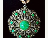 "Florenza Pendant Necklace Peking Green Glass Gold Chain Medallion Circle BIG Bold 24"" Vintage"