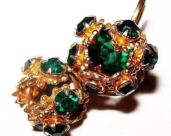 """Green Cage Screw Back Earrings Kelly Green Rhinestones Gold Metal 1"""" Vintage 1940s"""