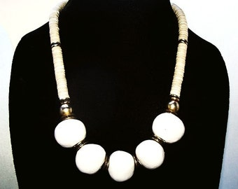 "Natural Bone White Bead Necklace Glass Stone & Gold Brass Beads 20"" Tribal Boho Vintage"
