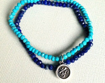Om Bracelet Natural Turquoise Lapis Lazuli Blue Bracelet Set
