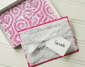 Will You Be My Bridesmaid Cards- Personalized Wedding Card Box. Dark Pink Wedding Party. Hot Pink Invitation.  Chevron. Damask. Quatrefoil.
