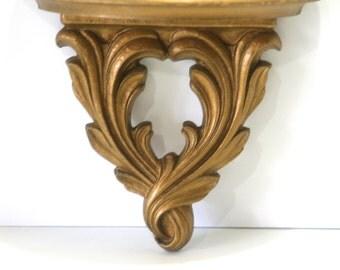 Vintage Small Hollywood Regency Gold Gilt Shelf Sconce Syroco Wood Plate Figurine Display Shelf