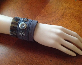 Fabric Wrist Cuff/Vintage Upcycled Wrist Cuff, Silver vintage buttons
