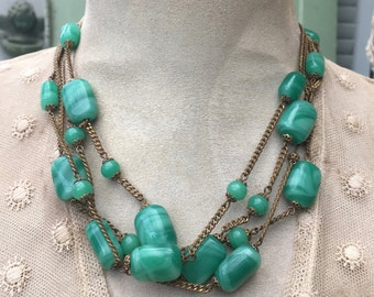 Pretty Vintage Necklace with Swirled Green Glass Beads on 4 Brass Chains