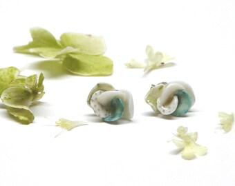 Porcelain flower ear studs