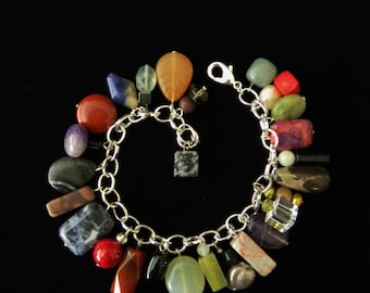 Multi-Gemstone Charm Bracelet