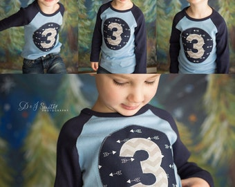 Third  Birthday  Shirt  arrow navy gray 3 Three Number Personalized Shirt or Onesie gift photo prop