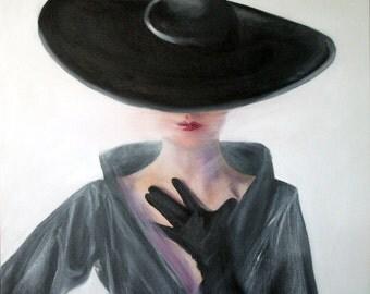 Original Oil Painting: Vintage Black Velvet Fashion Hat & Gloves