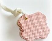 mini chevron flourish square hanging tags, chevron bracket gift tags, embellishment, product tags, favor tags, 1 Dozen