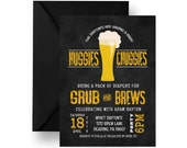 Huggies and Chuggies Baby Shower Invitation Diaper for Brew Party Invites Mans Diaper Party Printable or Printed Chalkboard Invites (HCMD1)