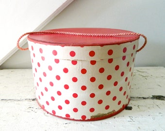 Vintage Hat Box Red White Polka Dot