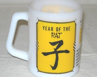 Vintage 70s Chinese Zodiac Year of the Rat Federal Milk Glass Mug Astrology Horoscope
