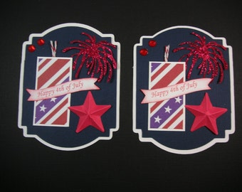 4th of July Scrapbook Embellishment, Fire cracker  Embellishment, Card Topper, Patriotic Embellishment, 4th of July tags