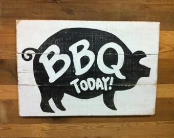 BBQ Pig salvaged wood sign.