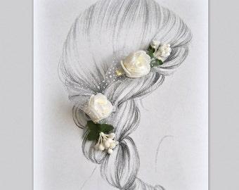 2 Flowergirl Hair Flowers White Bridal Hair Clips Wedding Headpiece Small White Flowers Bridesmaids Hair Piece Accessories