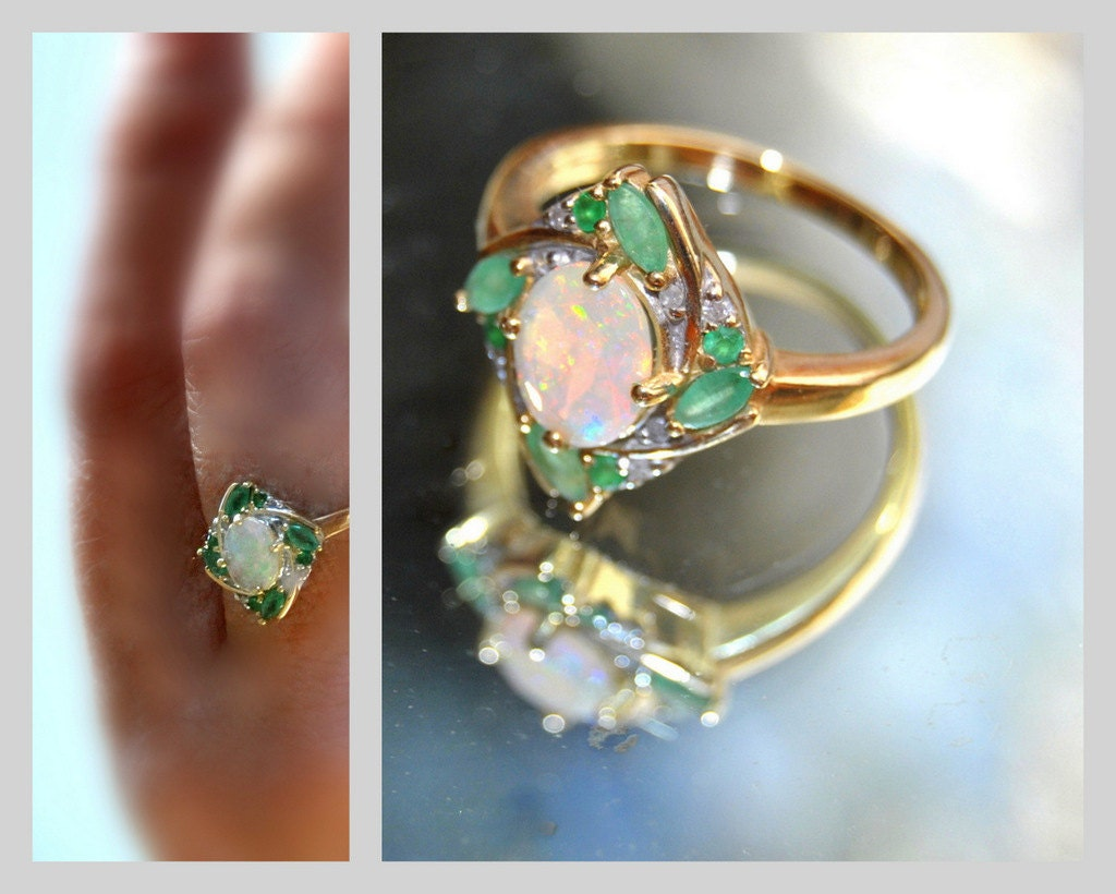 Fairy Emerald Opal Ring Diamond 10k Gold Engagement Ring