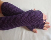 Extra Long Fingerless  Gloves Knit. Long Arm Warmers Knitted Wool WinterFingerless  Mitts LongHand Warmers rmers.Womens Gloves
