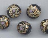 Six beautiful lampwork glass beads - jet black Van Gogh beads - 14.5 mm roundsffy squares
