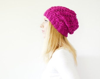 PRE-FALL SALE the Sumter hat - Slouchy hat beanie crocheted - hot pink - wool