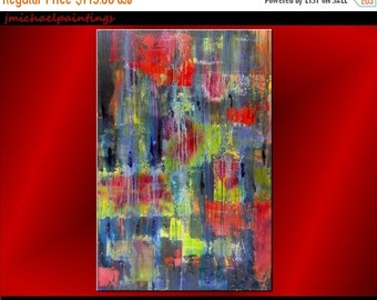 ART SALE Large Abstract Painting, Abstract Art, Red Abstract, Retro Modern Art, Drip Canvas Art,Vivid, Colorful, Contemporary, 24 x 36 JMich