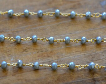 Gray Glass Bead Chain Faceted 4mm Beads on 24k Gold Plated 1mm Wire - Hand Made Necklace Chain Glass  Bead Chain Jewelry ()