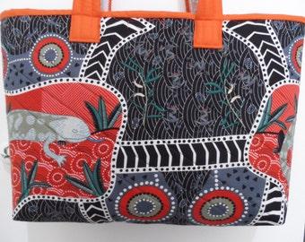 Australian Aboriginal print Tote Bag - Handmade Tote  Bag - Australian made Tote Bag - Quilted  Bag - Beach Tote Bag - Market Tote Bag
