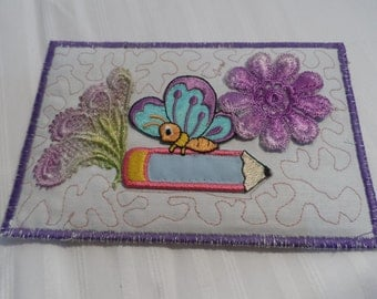 Quilted Postcard - Artist Trading Cards - Handmade Postcard -  Postcard - Fabric Postcard - Appliqué Postcard
