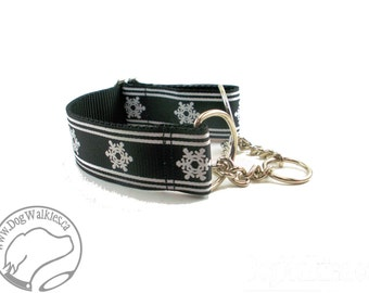 "Winter Wonderland in Black - 1.5"" (38mm) Wide - Choice of collar style and size - Martingale Dog Collars or Quick Release Buckle"