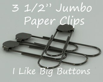 50 - GUNMETAL - Jumbo / Giant 3 1/2 Inch Bookmarks/Paper Clips/Paperclips w/ Glue Pads Large/Black/Gray