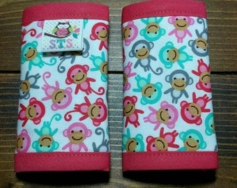 Reversible NEWBORN Car Seat Strap Covers Ann Kelle Mini Monkeys with Opal Dimple Dot Minky Baby Girl Accessories Infant ITEM #211