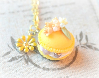 Macaroon necklace, handmade fake pastry jewelry, yellow macaron orange flower, fake cake charm,daisy charm, lolita accessories,gift under 20