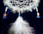 Handmade Frozen Inspired Crystal snowflake Dreamcatcher. Elsa, Anna, Olaf Charms. Plus Ice crystal.