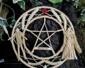 Handfasting Ceremonial Wheel. Handmade God Goddess Wheat Pentacle Wreath. Relationship Blessing. Pagan / Wiccan Valentine.