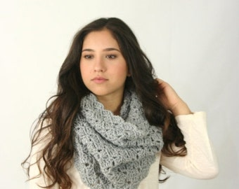 Trick Or Treat SALE Cowl Scarf Women's Crochet Snood Scarf / THE KENSINGTON / Silver Heather