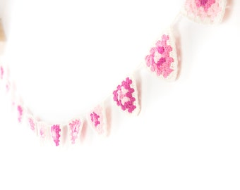 Pretty Bunting - pink, granny square triangles, garland, banner decorations for baby shower, wall decoration or in the garden