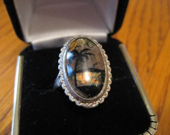 Vintage 50s scene ring.  Butterfly wing.  Silver.